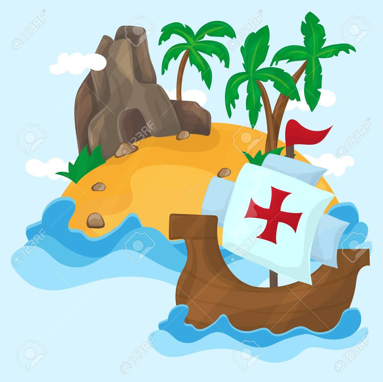 Los Barcos De Cristóbal Colón Y La Isla Tropical Con Palmeras En El