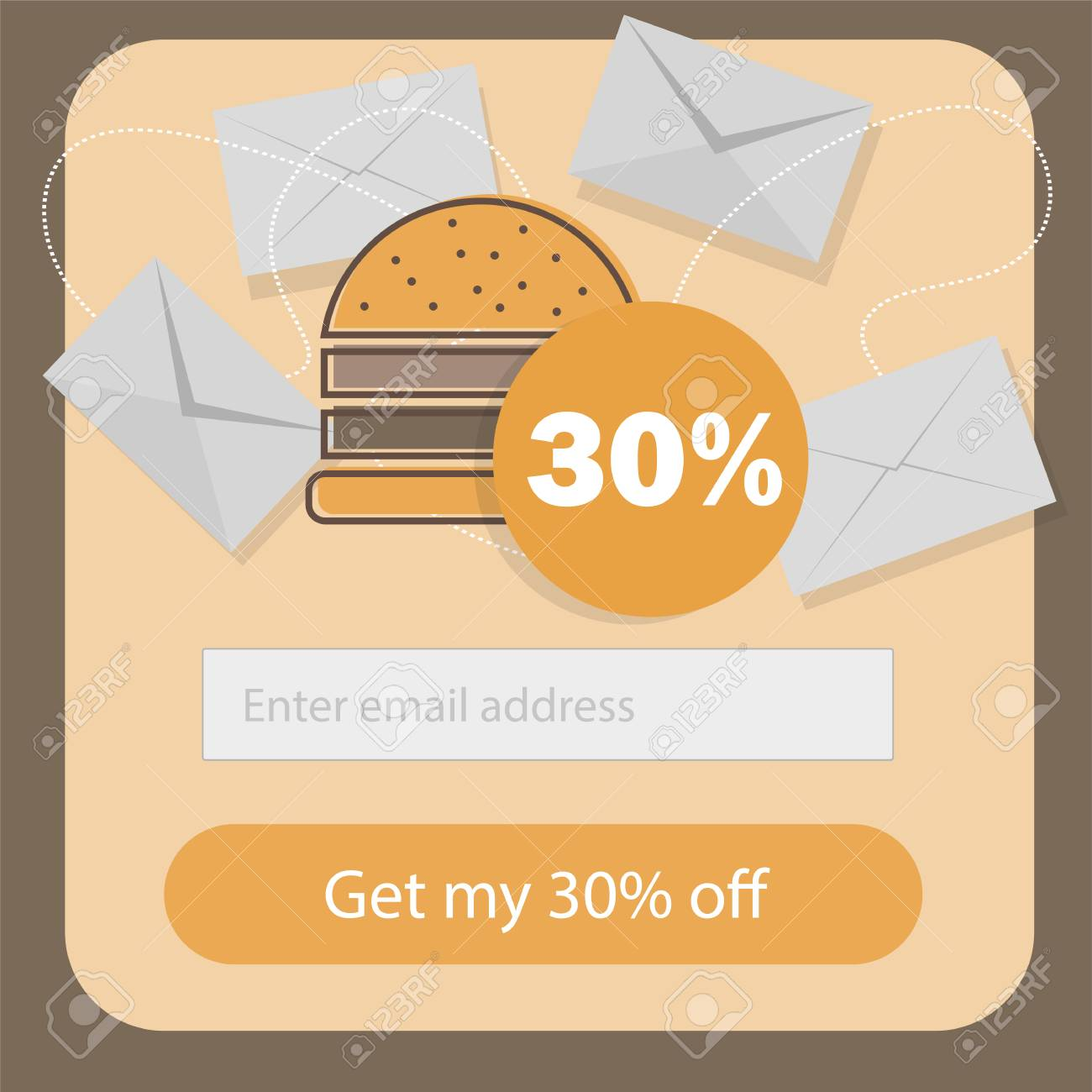 A Fast Food Coupon Discount Template Flat Design Promotion