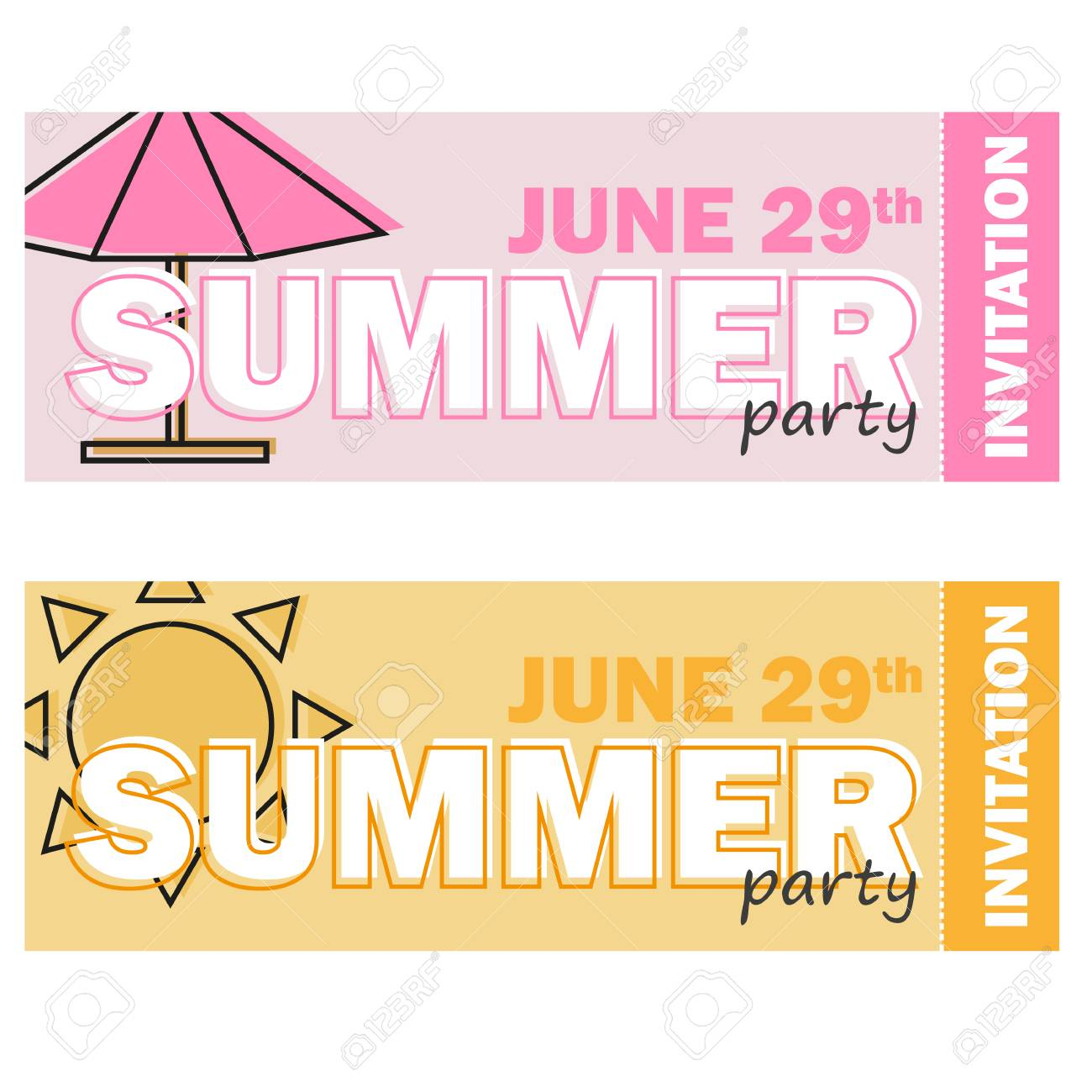 Creative modern flat design invitation on summer party with line creative modern flat design invitation on summer party with line symbol vector illustration stock vector stopboris Images