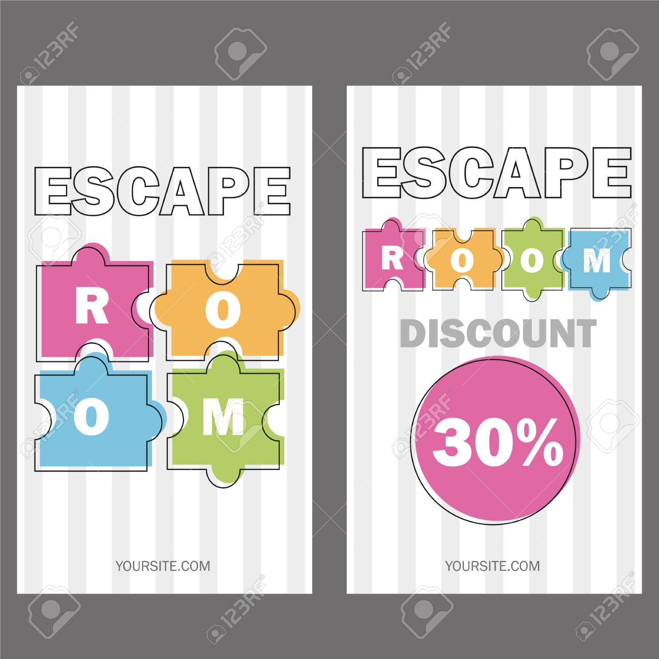 Escape room  Vector illustration poster, banner on white background