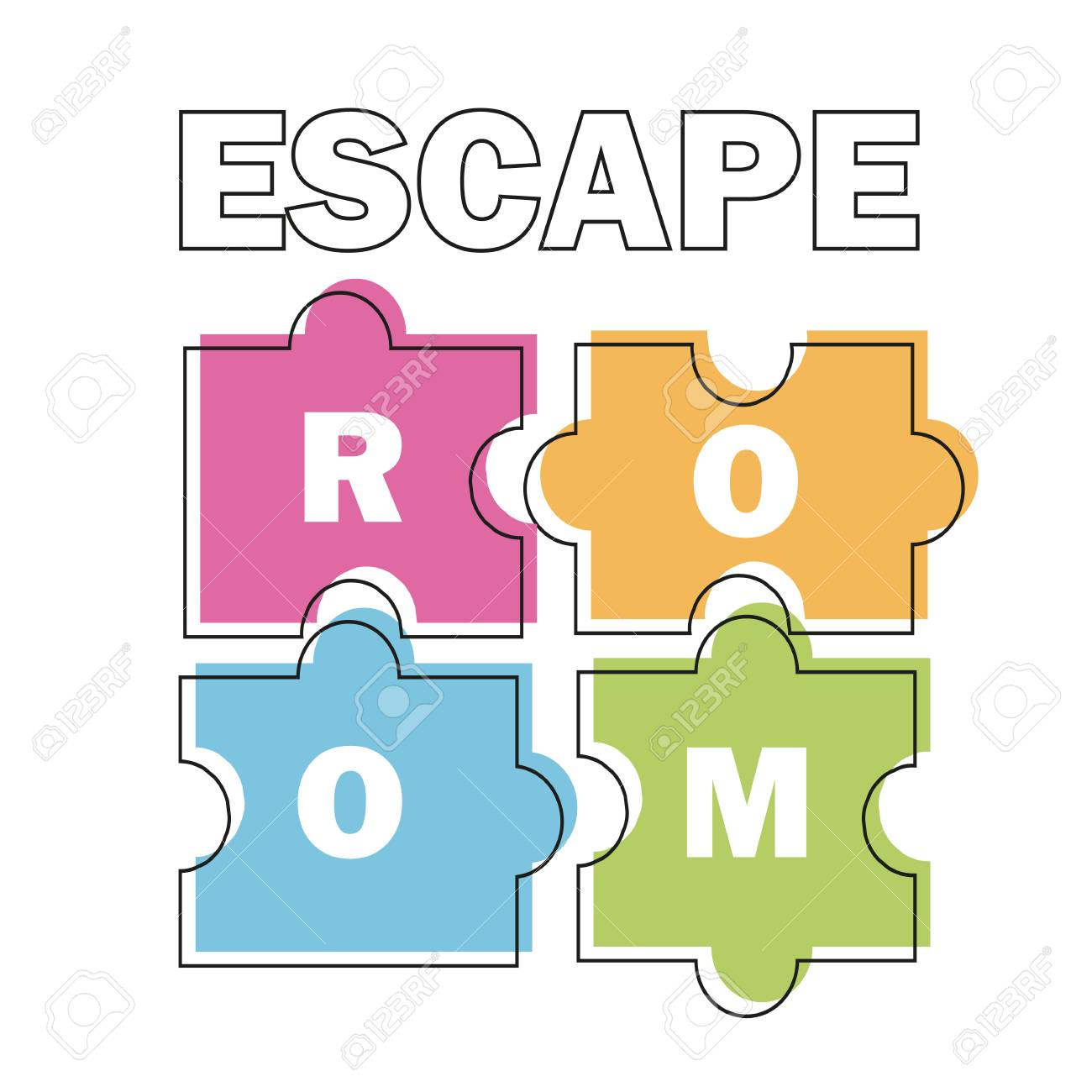 Escape room. Vector illustration poster, banner on white background puzzle - 98095734