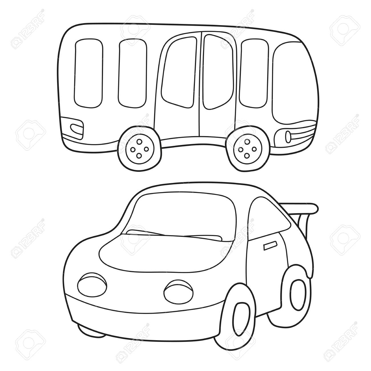 Contour black and white cartoon of bus and car. Coloring book..