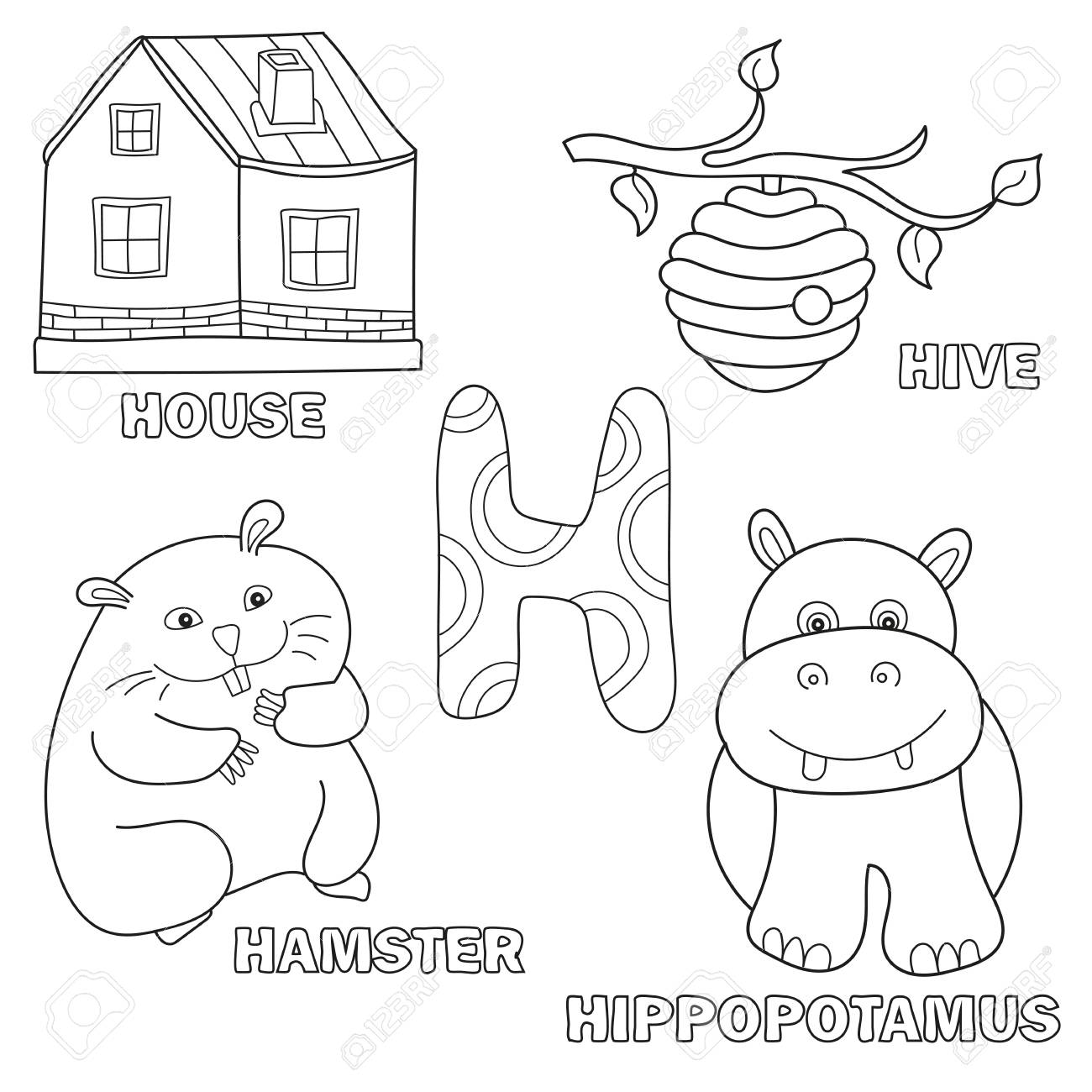 Kids Alphabet Coloring Book Page With Outlined Clip Arts. Letter ...