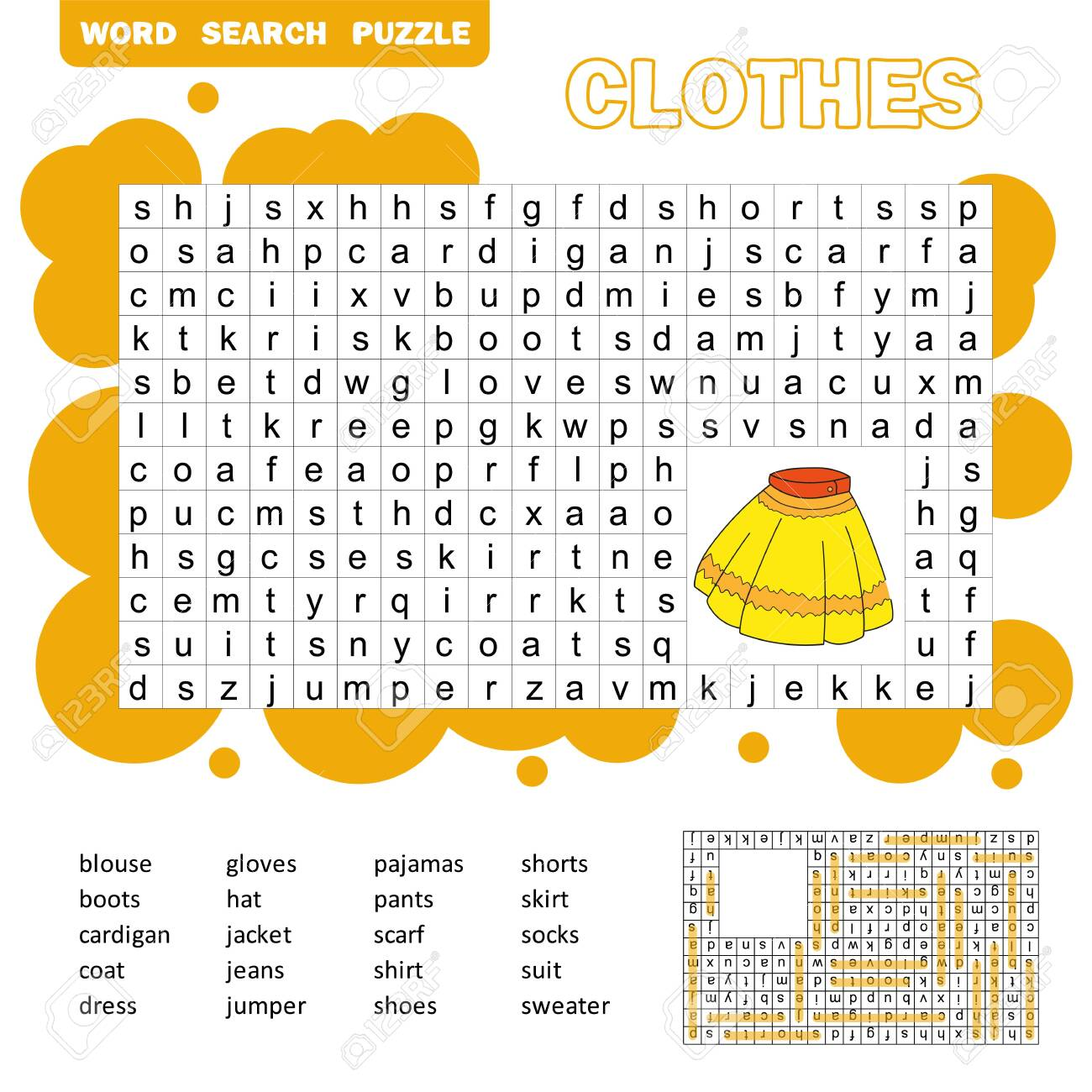 Educational game for kids  Word search puzzle with clothes  Kids