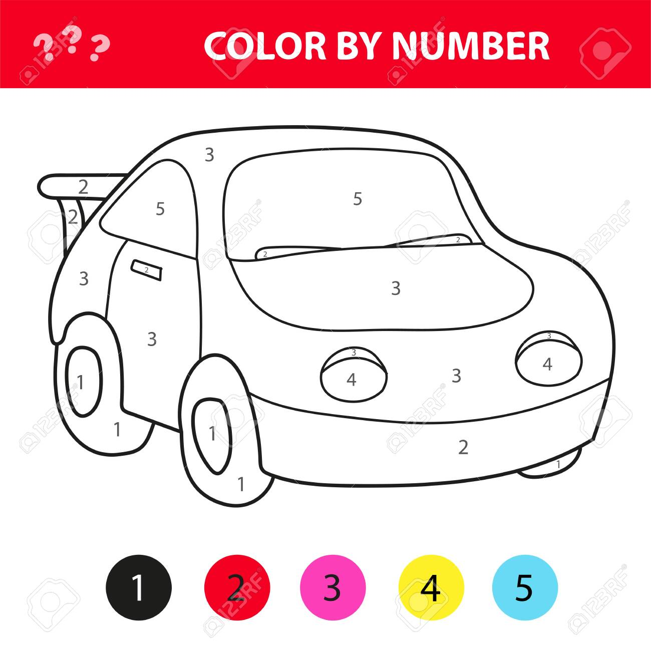 Car In Cartoon Style, Color By Number, Education Paper Game For ...