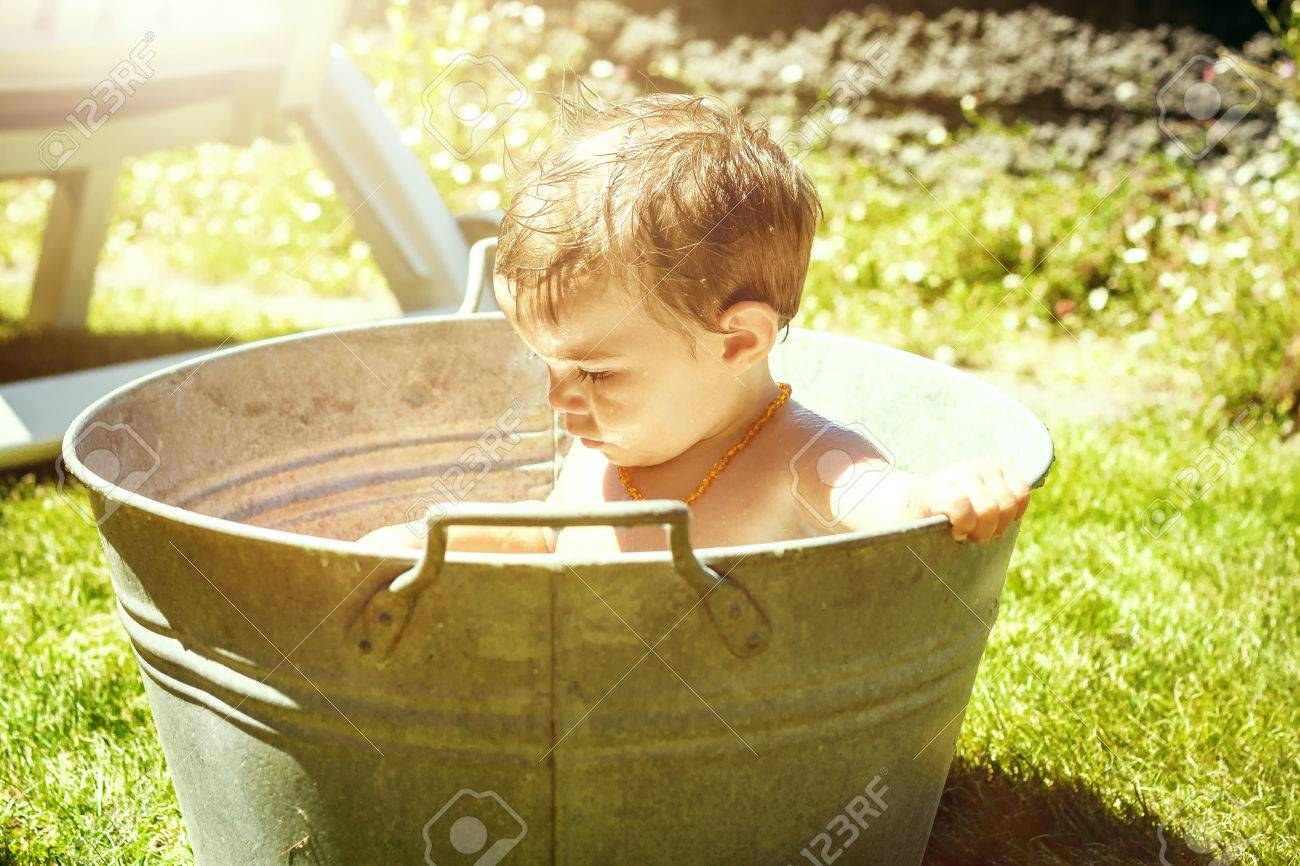 Young Baby Bathing In Zinc Tub Stock Photo, Picture And Royalty Free ...