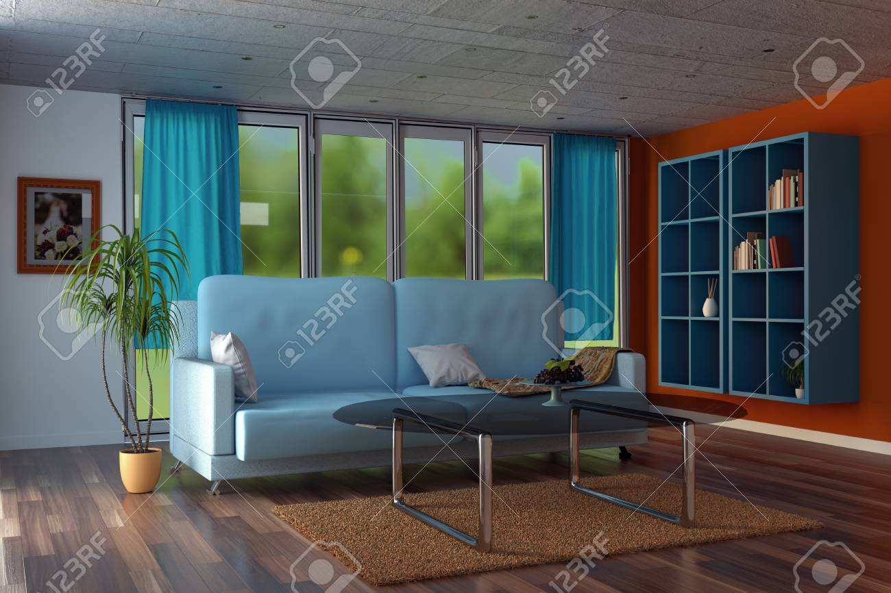 3d Rendering Of Modern Living Room With Orange Walls And Blue