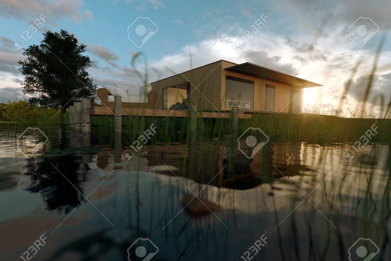 3d Rendering Of Wooden House With Flat Roof At Nature From The Water  Surface Of Pond
