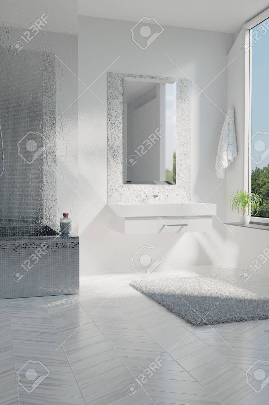 3d Rendering Of Luxury White Bathroom With Mosaic Tiles Stock Photo ...