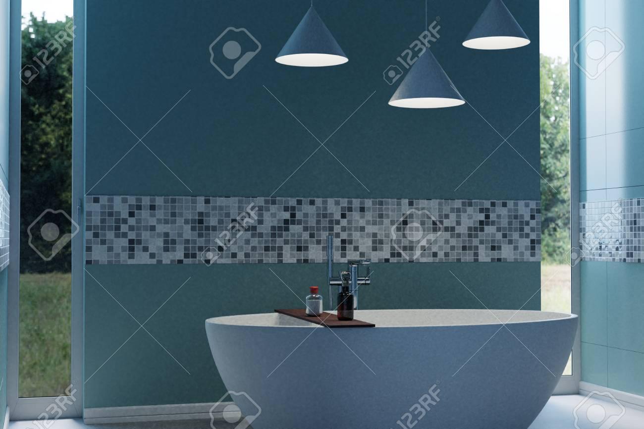 3d Rendering Of Cyan Modern Bathroom With Free Standing Bathtub ...