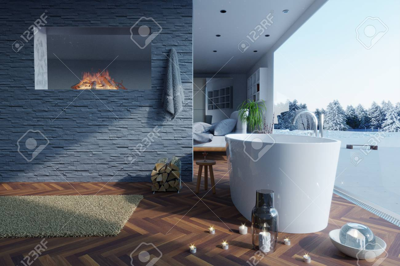 3d Rendering Of Freestanding Bathtub And Fireplace At Stone Bricket ...