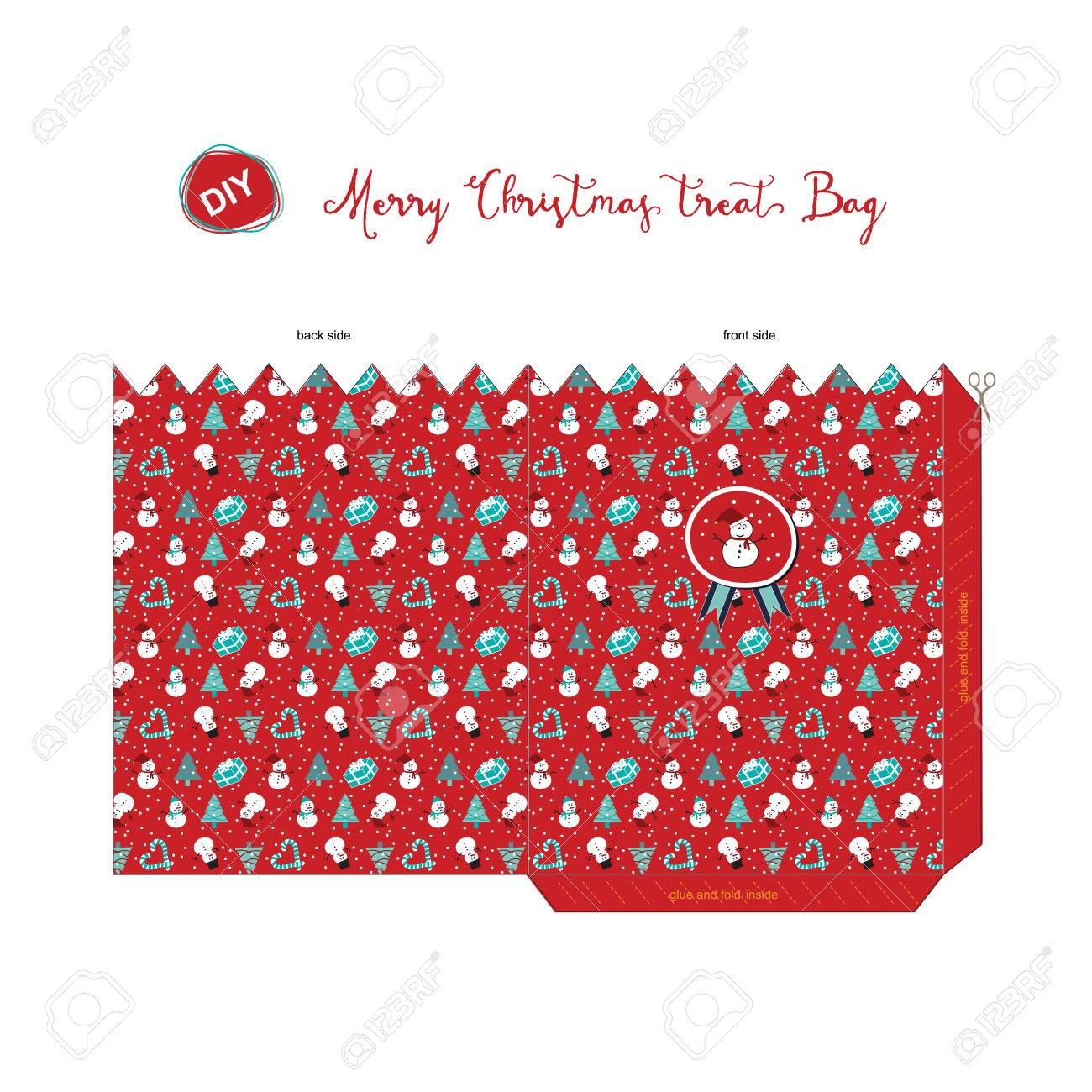 A Merry Christmas Diy Do It By Yourself Treat Bag For Season Greeting With Pattern Of