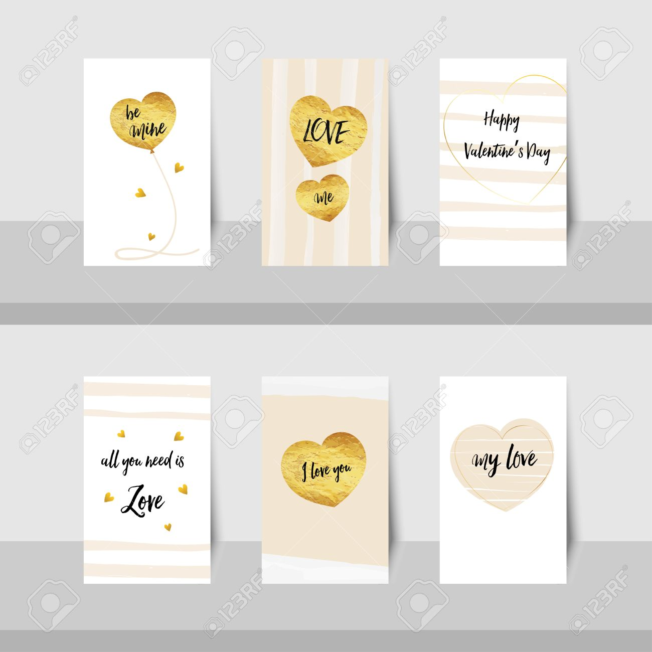 Set Of Valentine Happy Valentines Day Small Cards Gold Foil – Small Valentine Cards