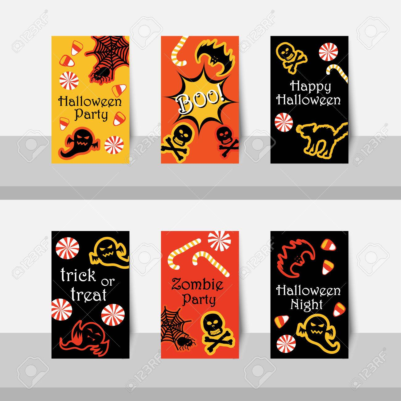Set Of Halloween Small Cards Party, Happy Halloween Night, Trick Or Treat,  In