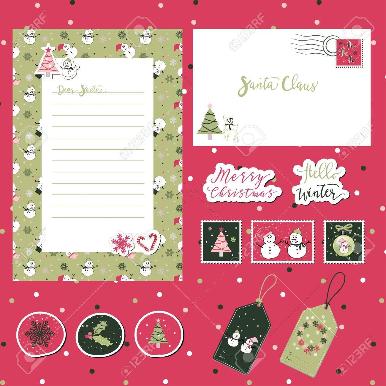 A set of merry christmas santa cute letter envelope templates a set of merry christmas santa cute letter envelope templates and stickers with text spiritdancerdesigns Gallery