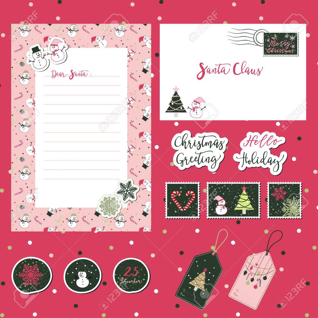 メリー クリスマス サンタかわいい手紙封筒テンプレートとテキスト