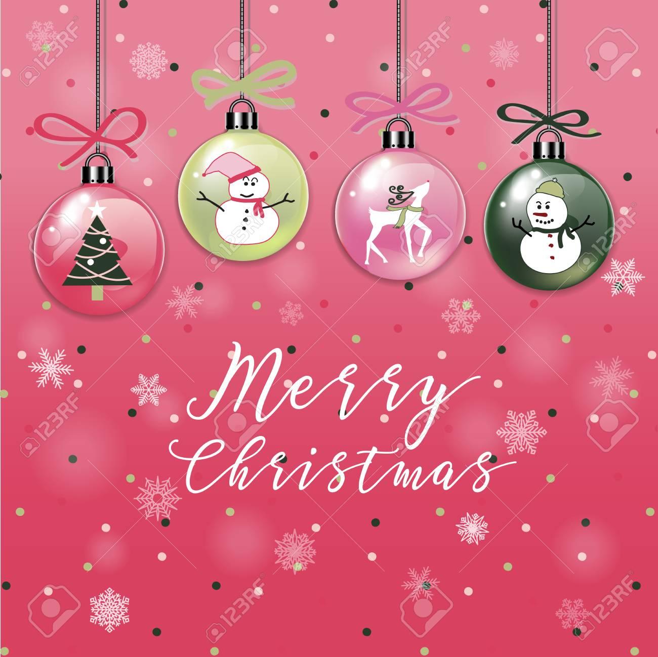 A Set Of Christmas Ornament Balls Card With Snowman, Christmas ...