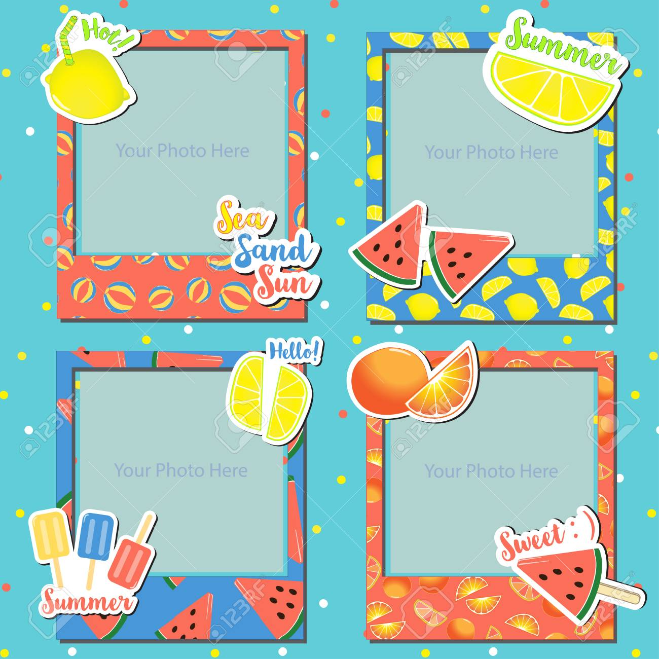 A Set Of Hot Summer Photo Frames For Scrapbook, Gift, Paper ...