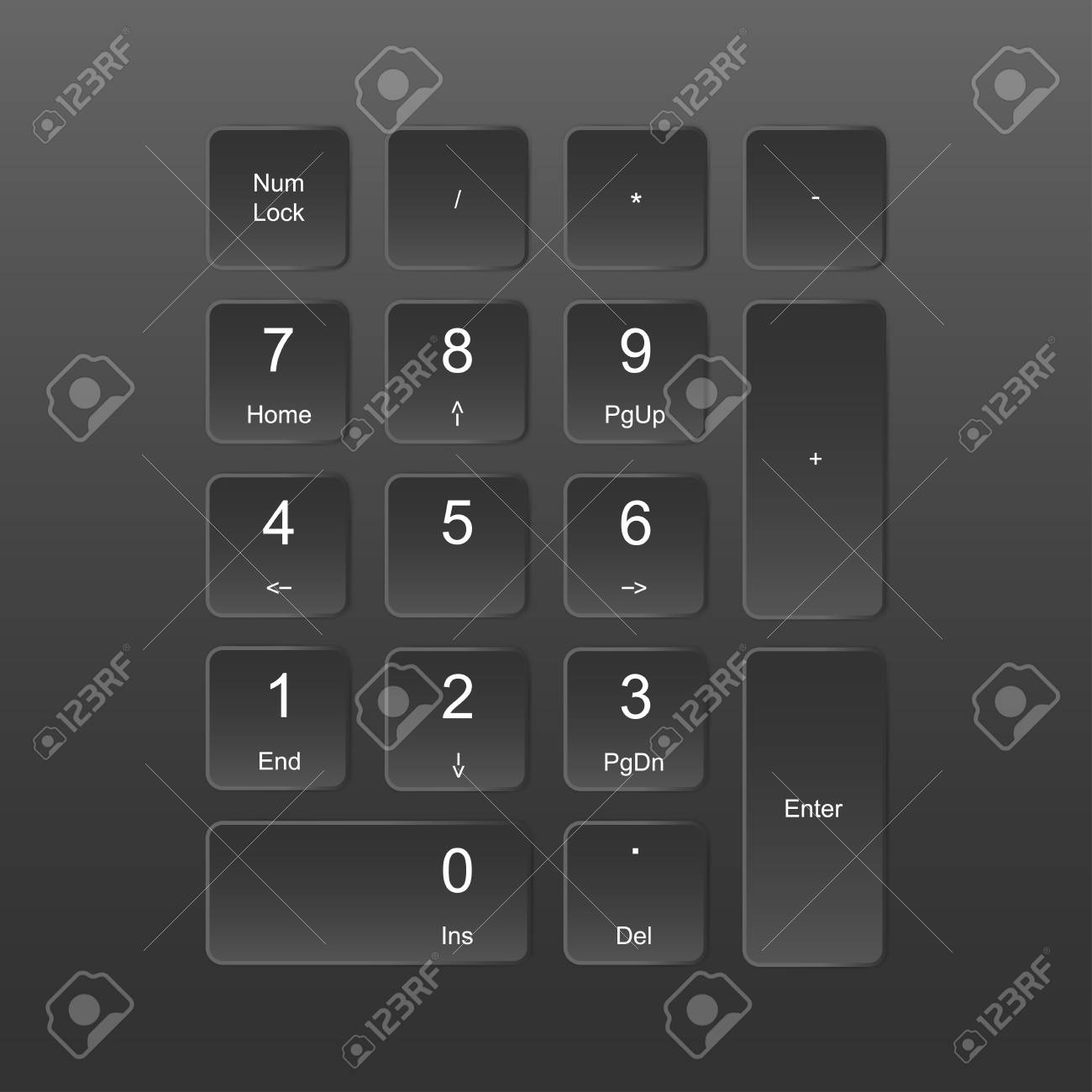 A Set Of Buttons Numerics Numbers Keyboard Keypad In Icon Vector