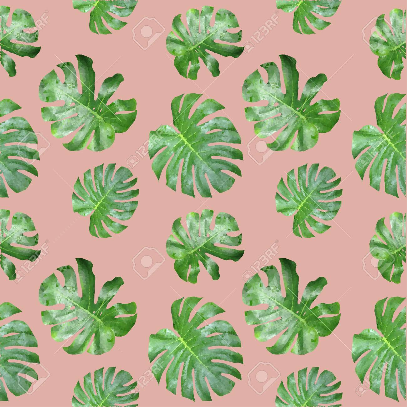 Polygones Tropicaux De Modele Sans Couture De Feuille Verte Plantent