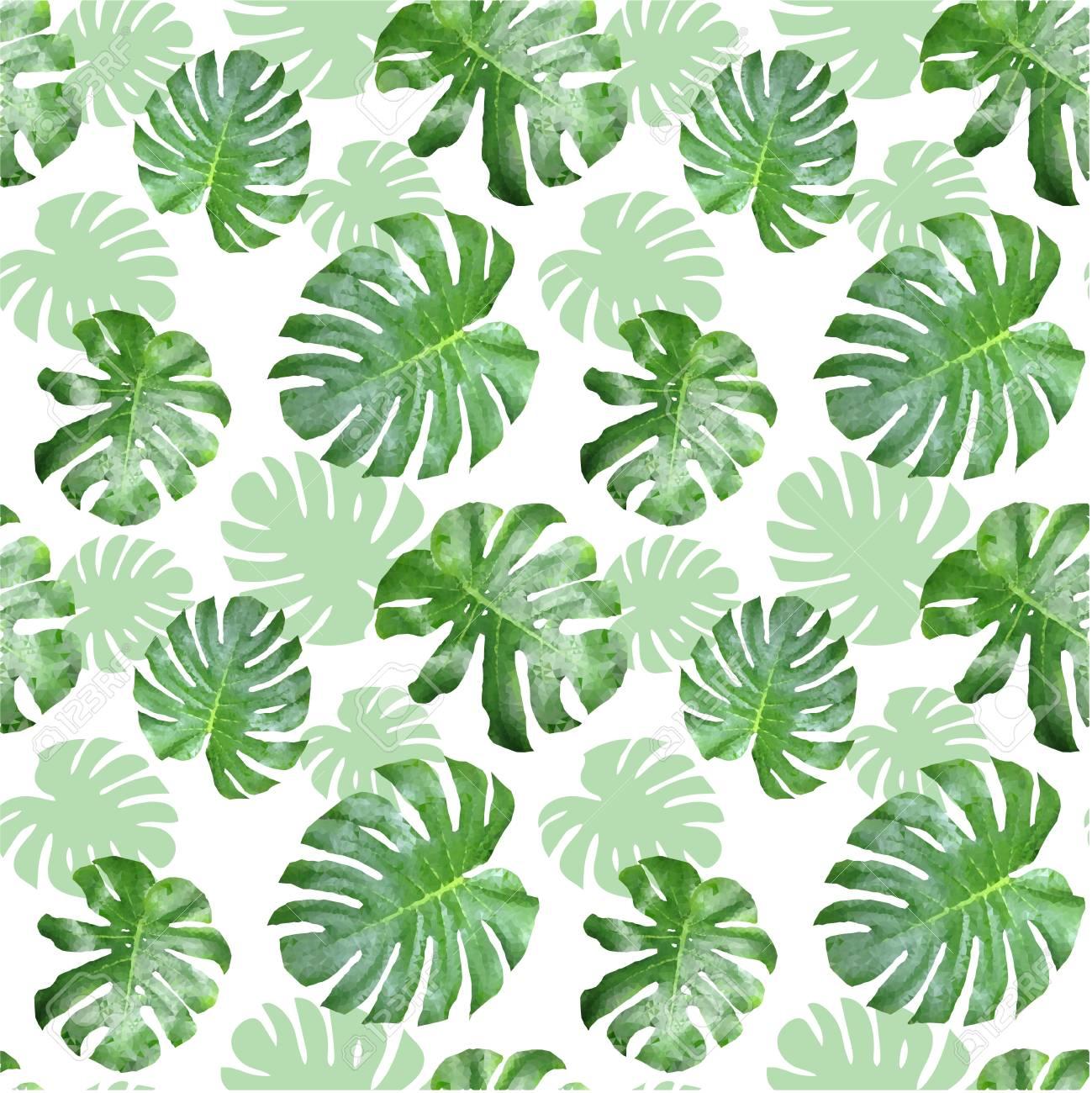 Polygones Tropicaux De Modele Sans Couture Feuille Verte Planter
