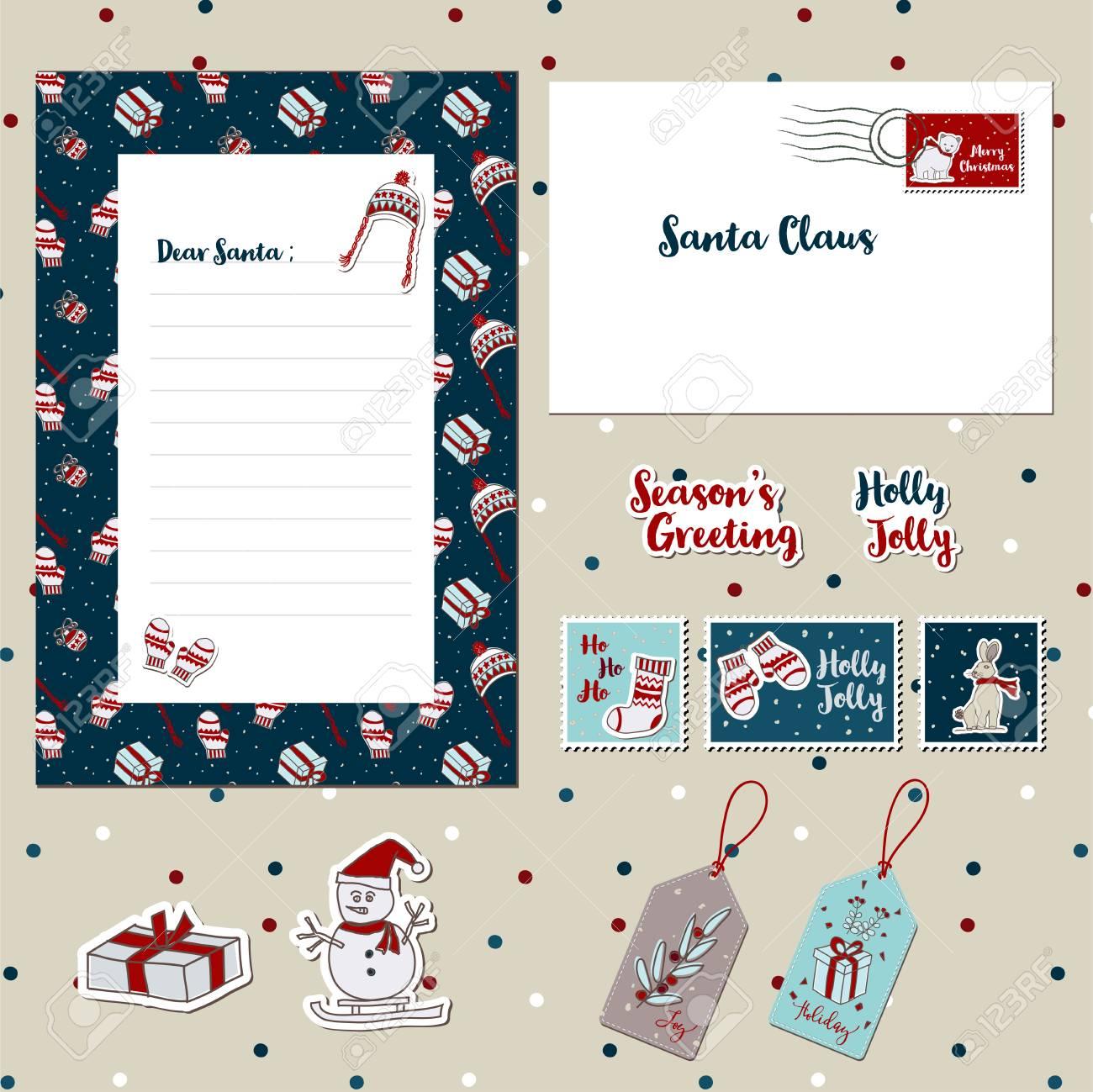 メリー クリスマス サンタかわいい手紙封筒テンプレート スクラップ
