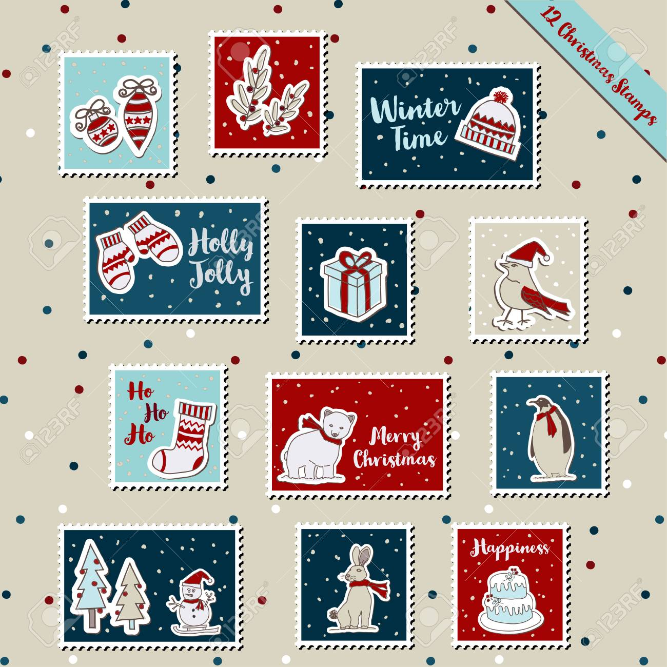 Christmas Stamps.A Set Of Christmas Stamps Postage Stamp Stickers Scrapbook