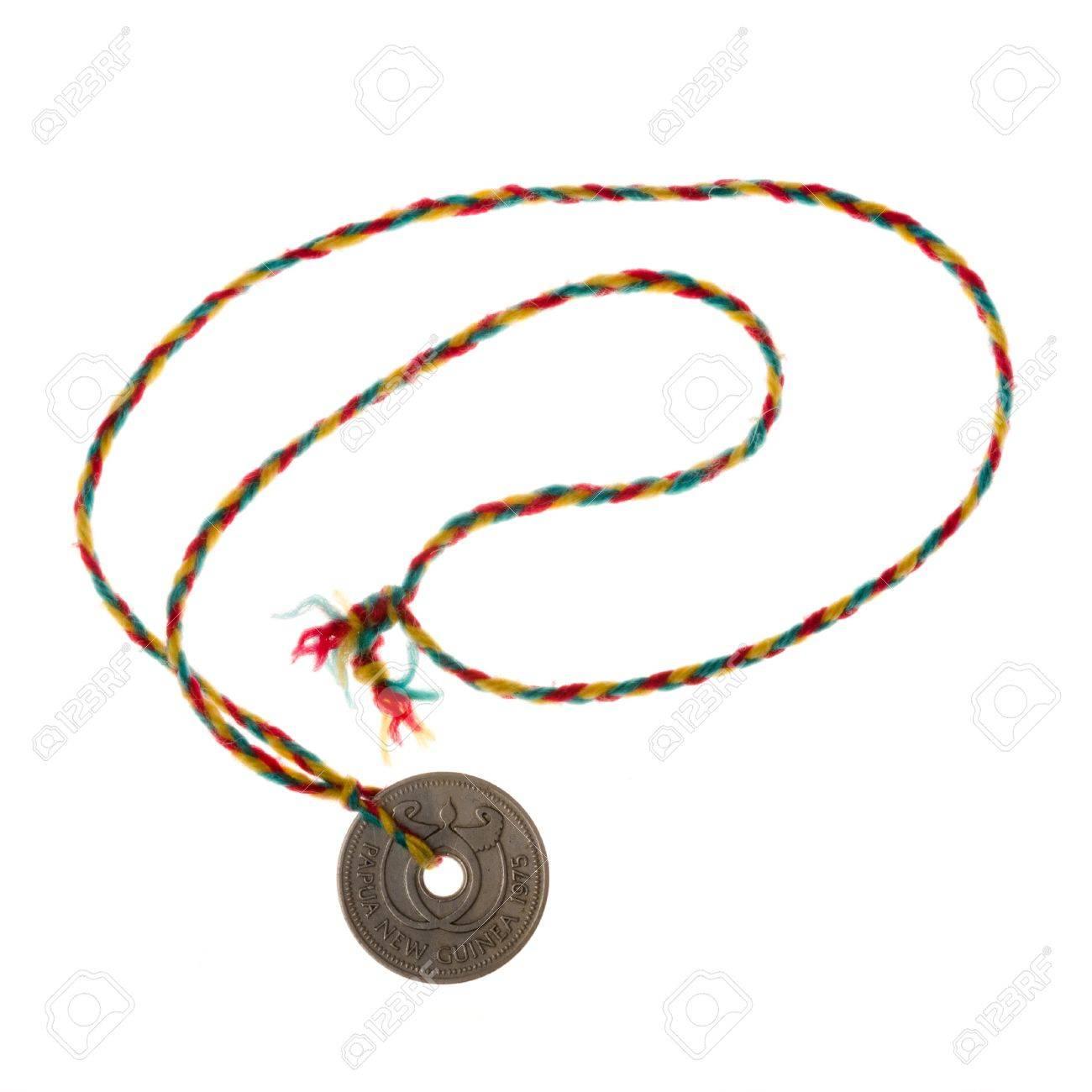 Münzen Mit Loch Aus Papua Neuguinea Als Halskette Gemacht Von Einem