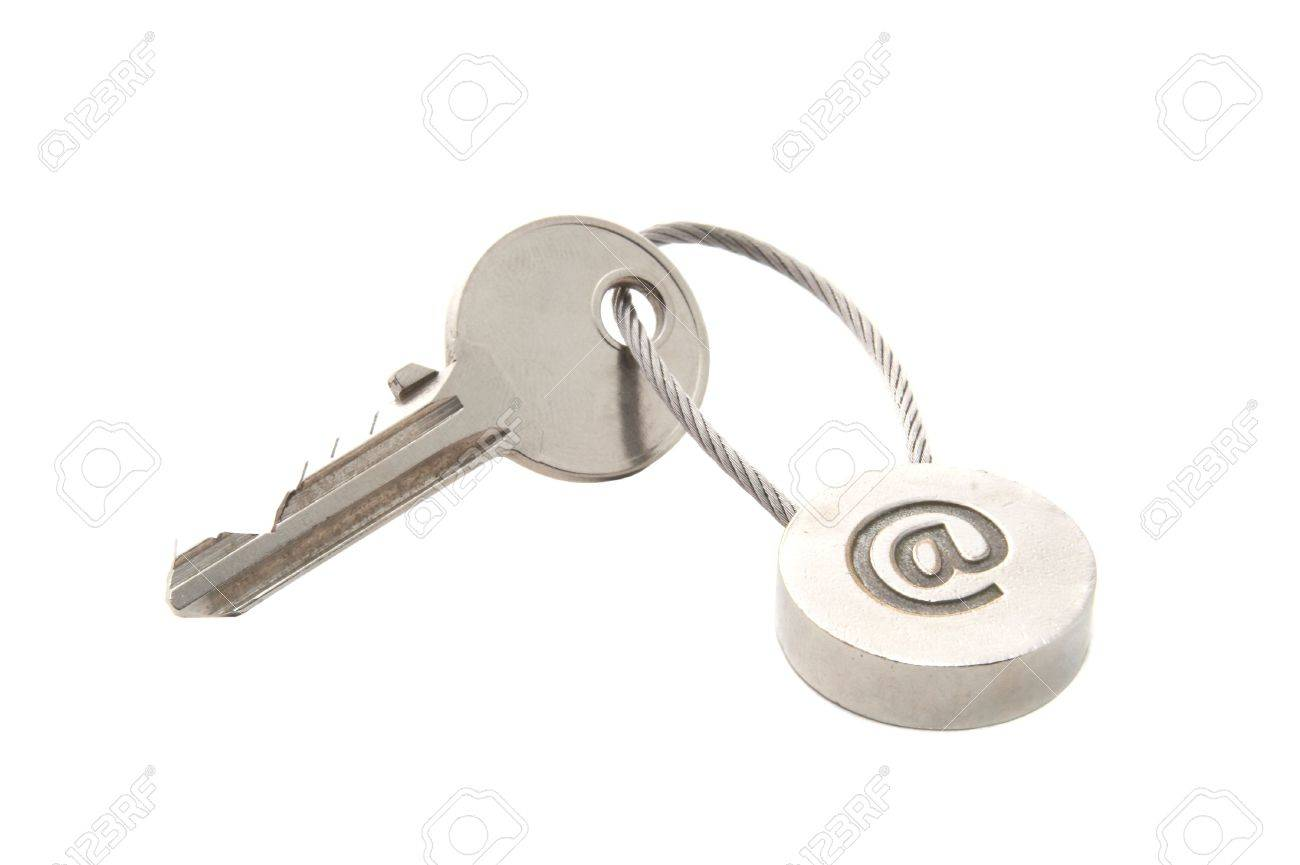 Key with e-mail symbol isolated over white Stock Photo - 5380407