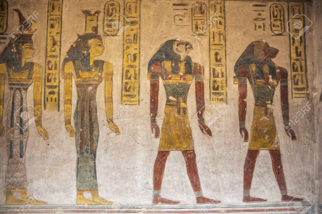 Wall paintings in the tomb of Ramesses III near Luxor - 128182519