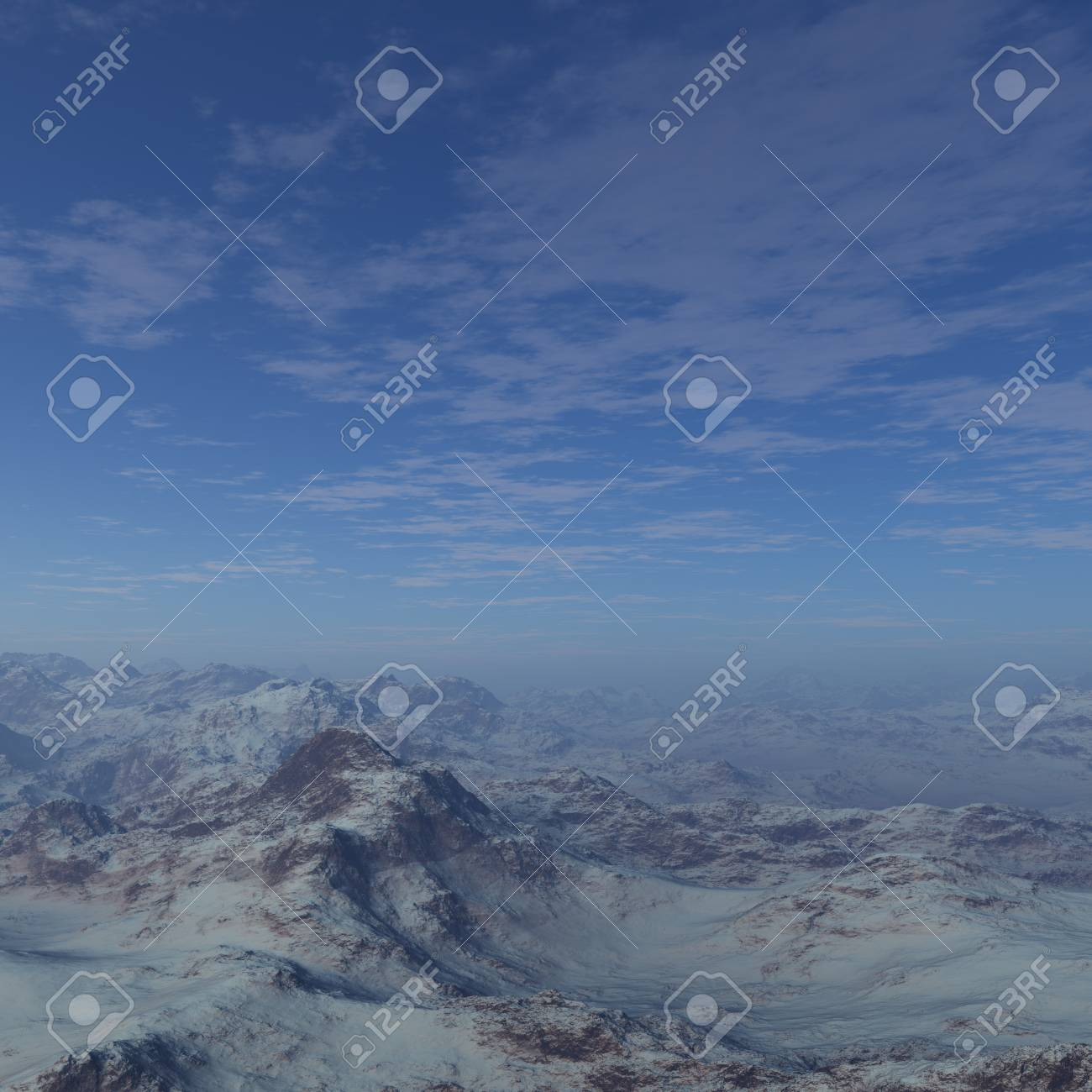 3d generated winter landscape of lonely desert mountains  Premade