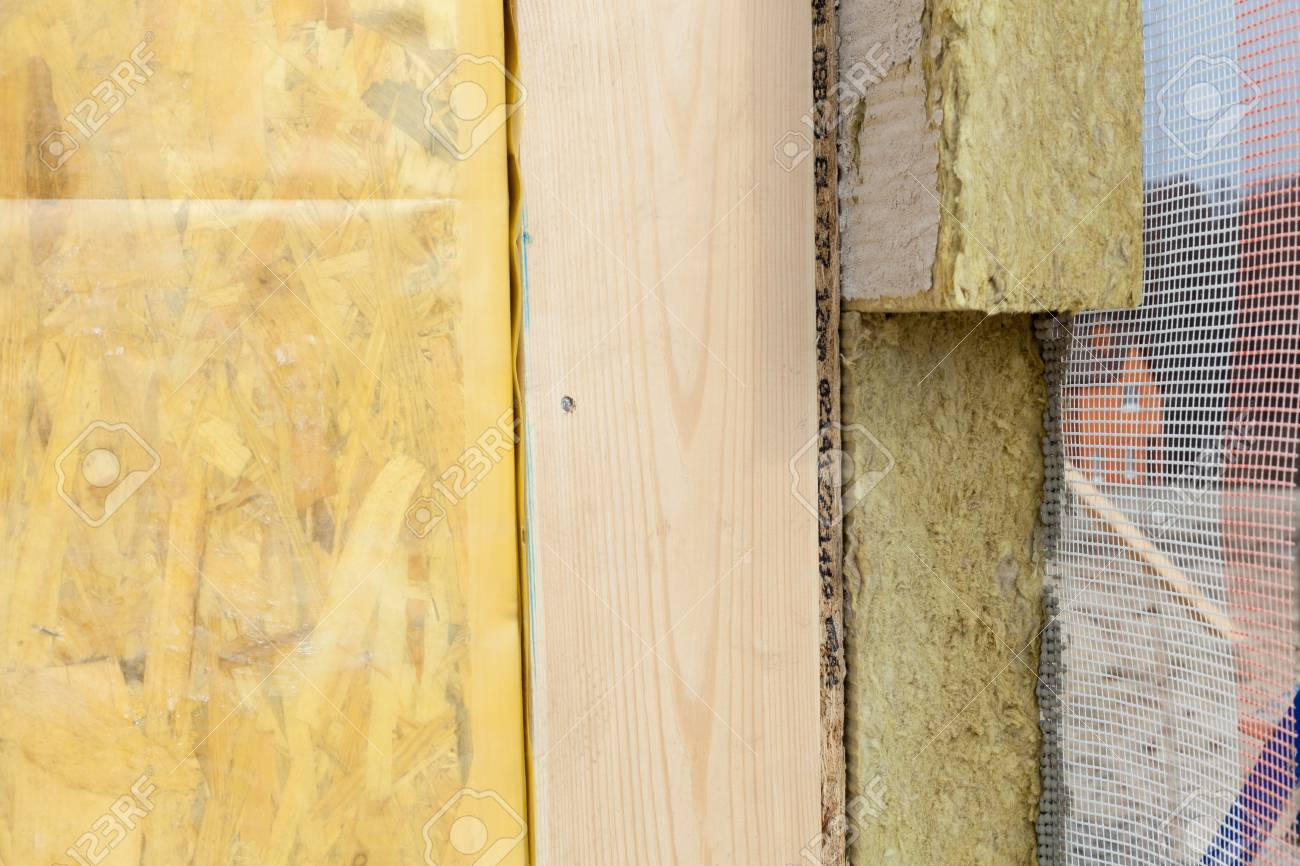 Closeup of structural Insulated Panels with mineral rockwool