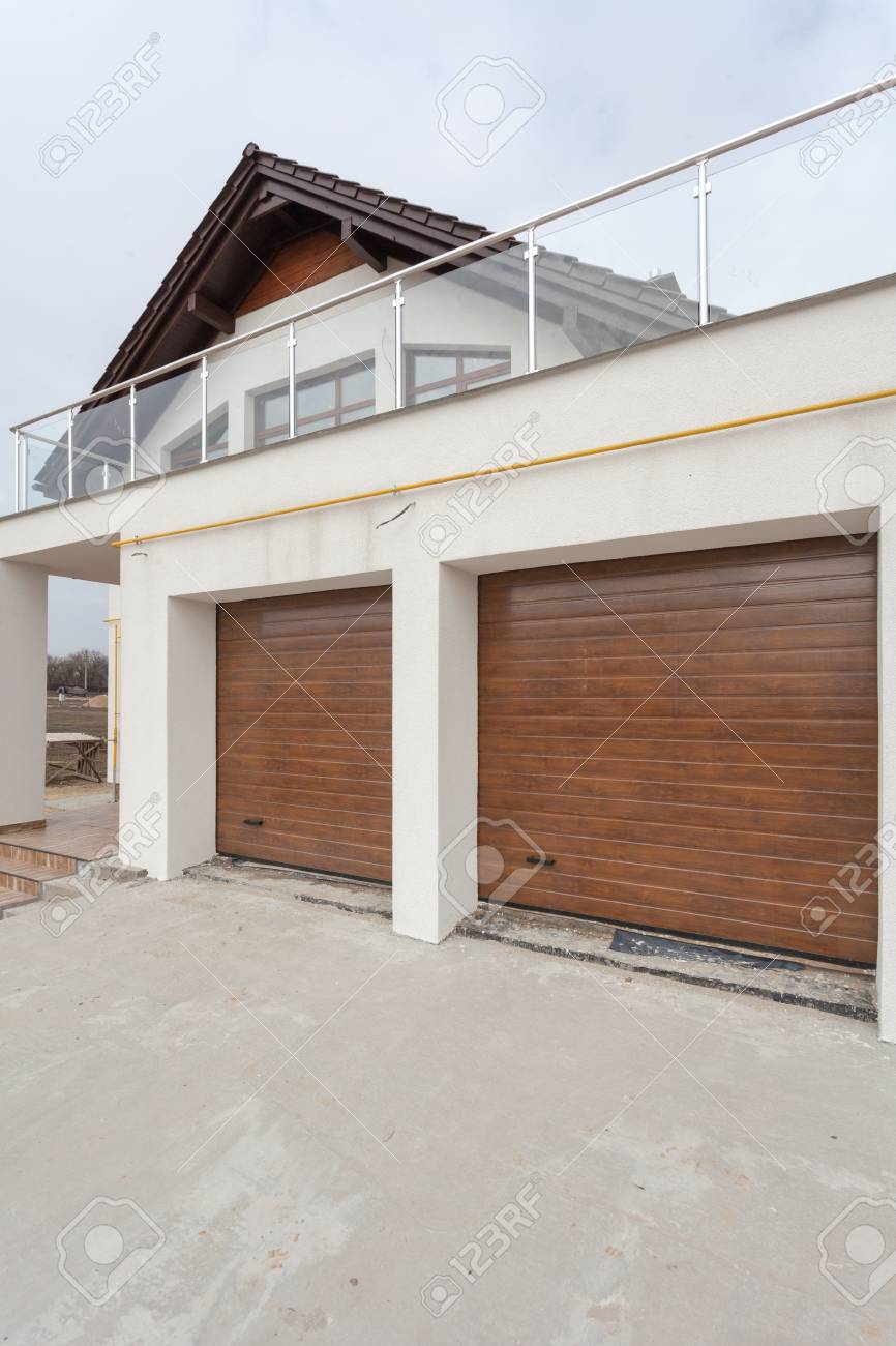 Garage Doors In New White House Made Of Blocks Stock Photo Picture