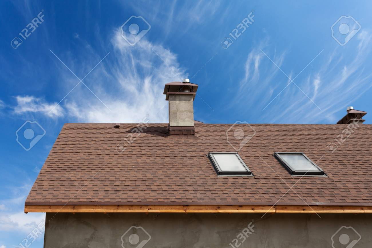 New roof with skylight, asphalt roofing (shingles) and chimney. Roof with mansard windows . - 95118423
