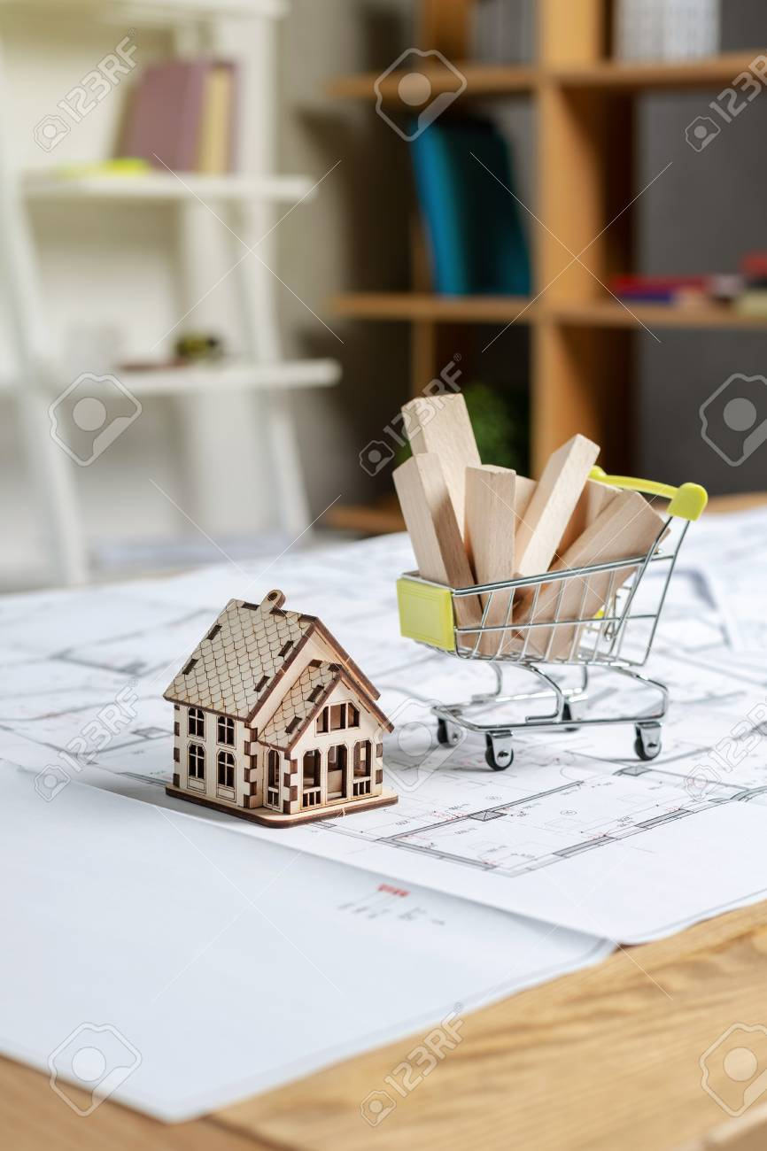 Vertical Photo Of Miniature House Standing Near Little Shopping