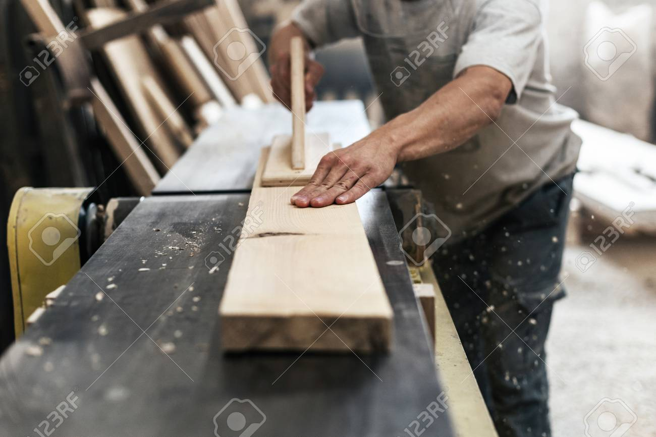 High Quality Wood Concept Cropped Photo Of Mature Cabinetmaker