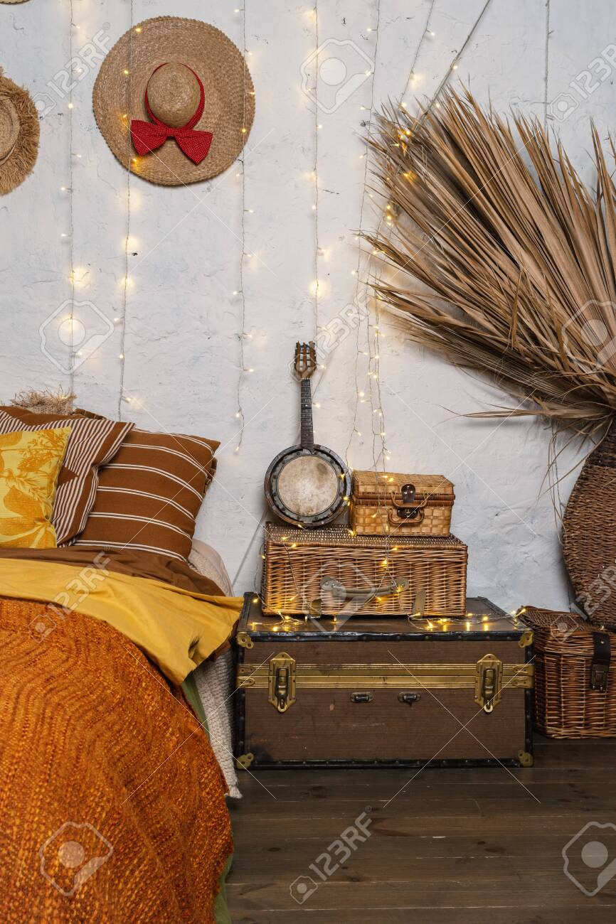 Vertical Photo Of Cozy Room With Boho Style Interior Pillows Stock Photo Picture And Royalty Free Image Image 134713367