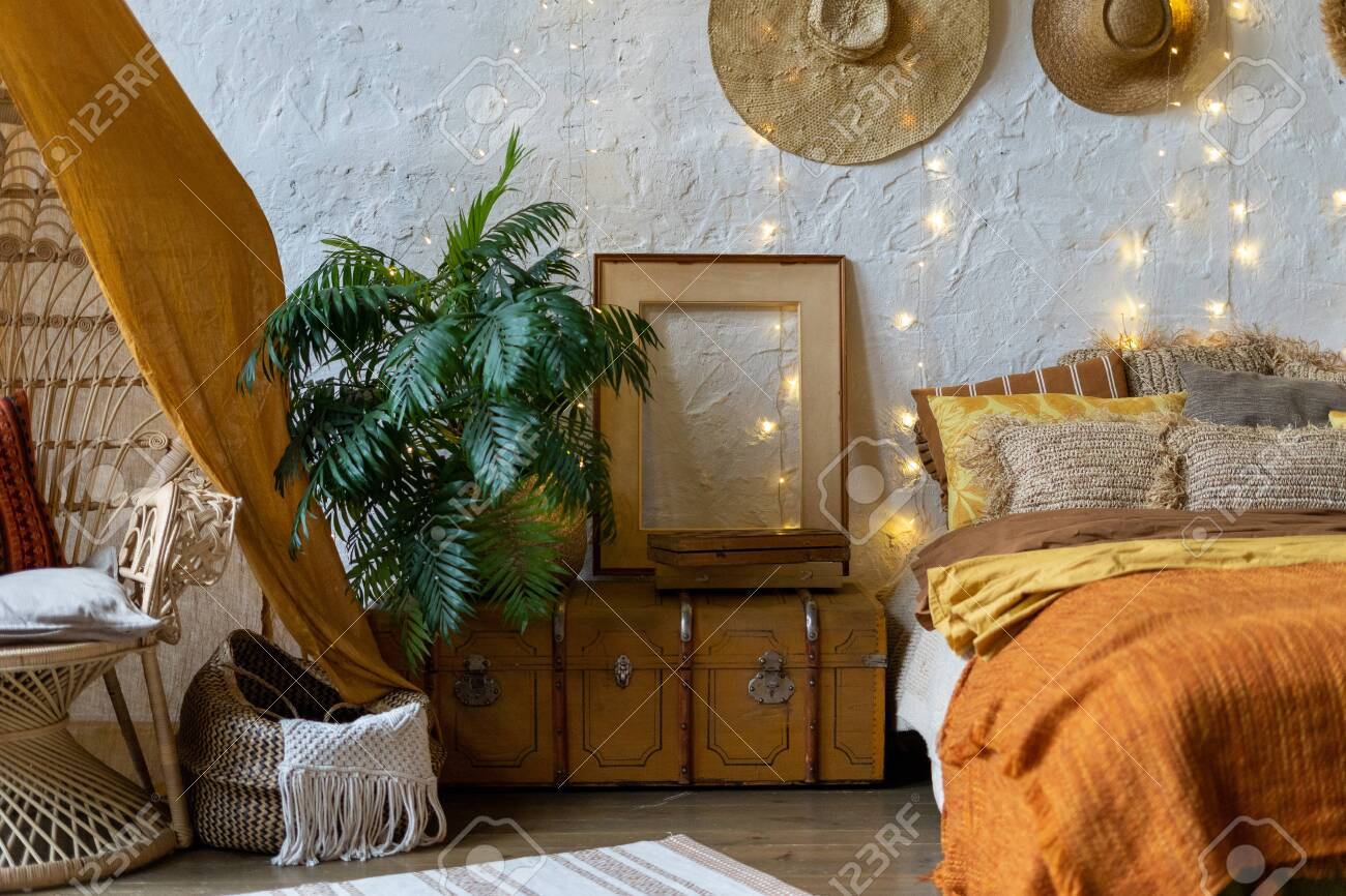 Cozy Room With Boho Style Interior Wicker Chair Pillows Cushions Stock Photo Picture And Royalty Free Image Image 134713569