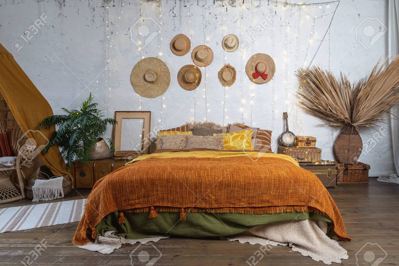 Beautiful Cozy Bedroom With Boho Style Interior Pillows Cushions Stock Photo Picture And Royalty Free Image Image 134713581