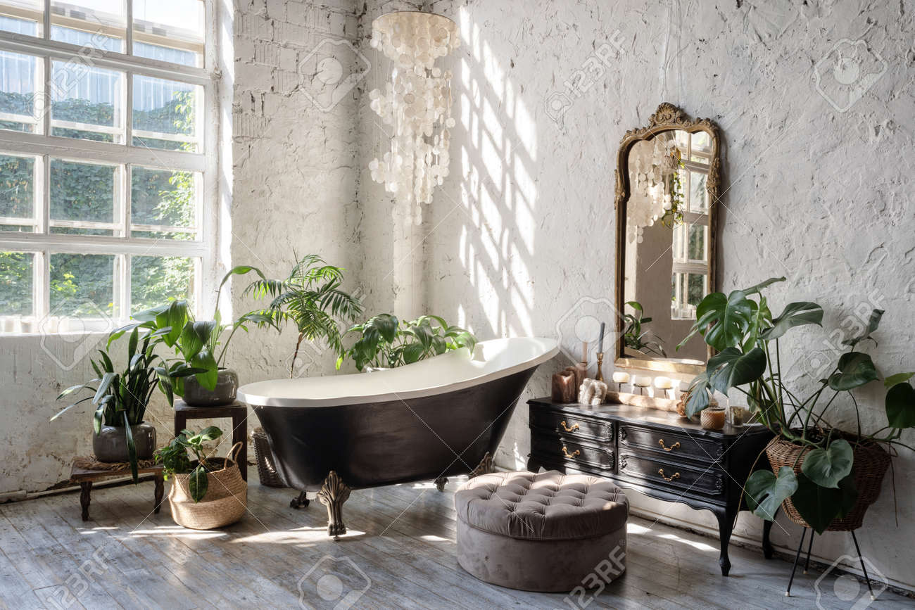Side View Of White Cozy Bathroom With Black Tub Wooden Classic Stock Photo Picture And Royalty Free Image Image 156884277