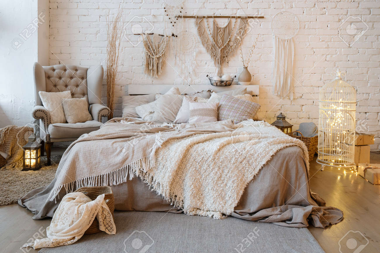 Front View Of Cozy Bedroom With Soft Plaid And Warmth Blanket Stock Photo Picture And Royalty Free Image Image 161442075