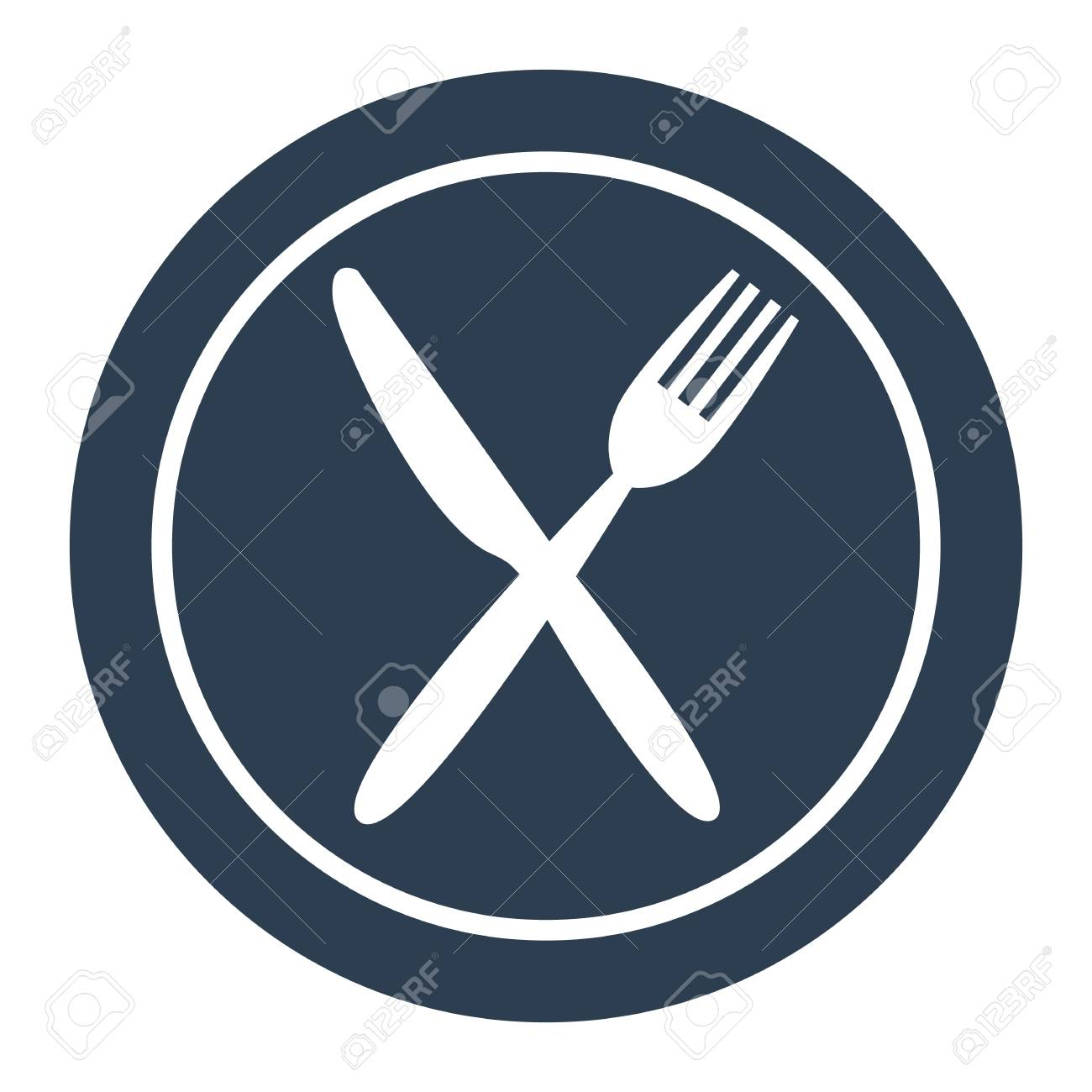 Plate Fork And Knife Icon Royalty Free Cliparts Vectors And Stock