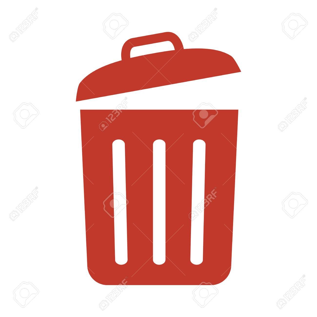 Trash bin icon on white background vector illustration - 96745173