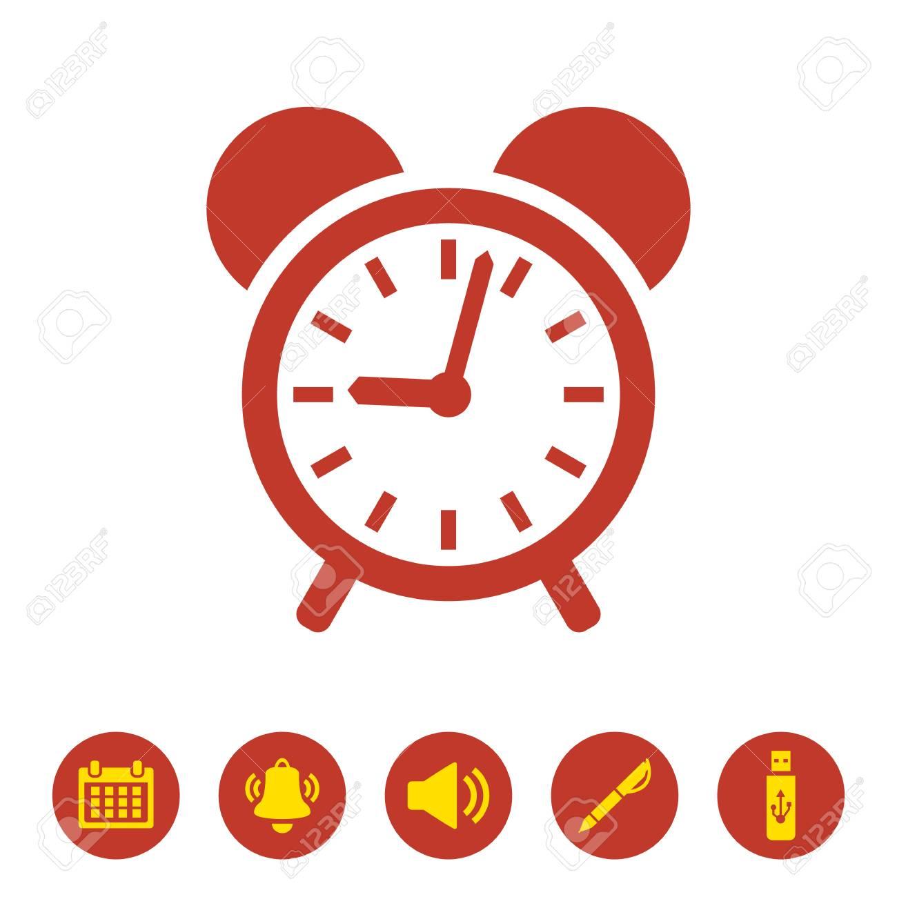 Alarm clock icon on white background. Vector Illustration - 125986420