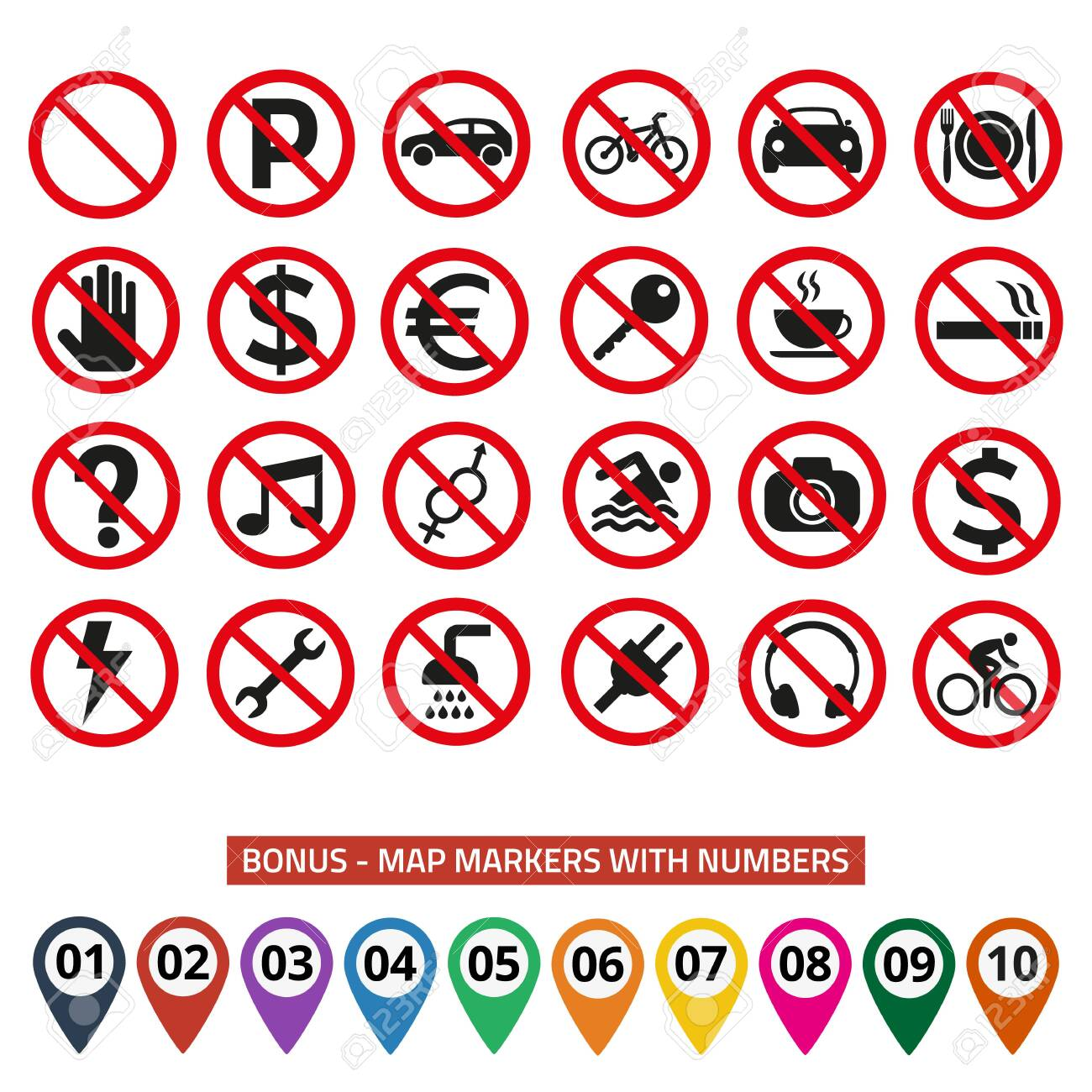 Prohibition signs set safety on white background. Vector illustration - 140882575