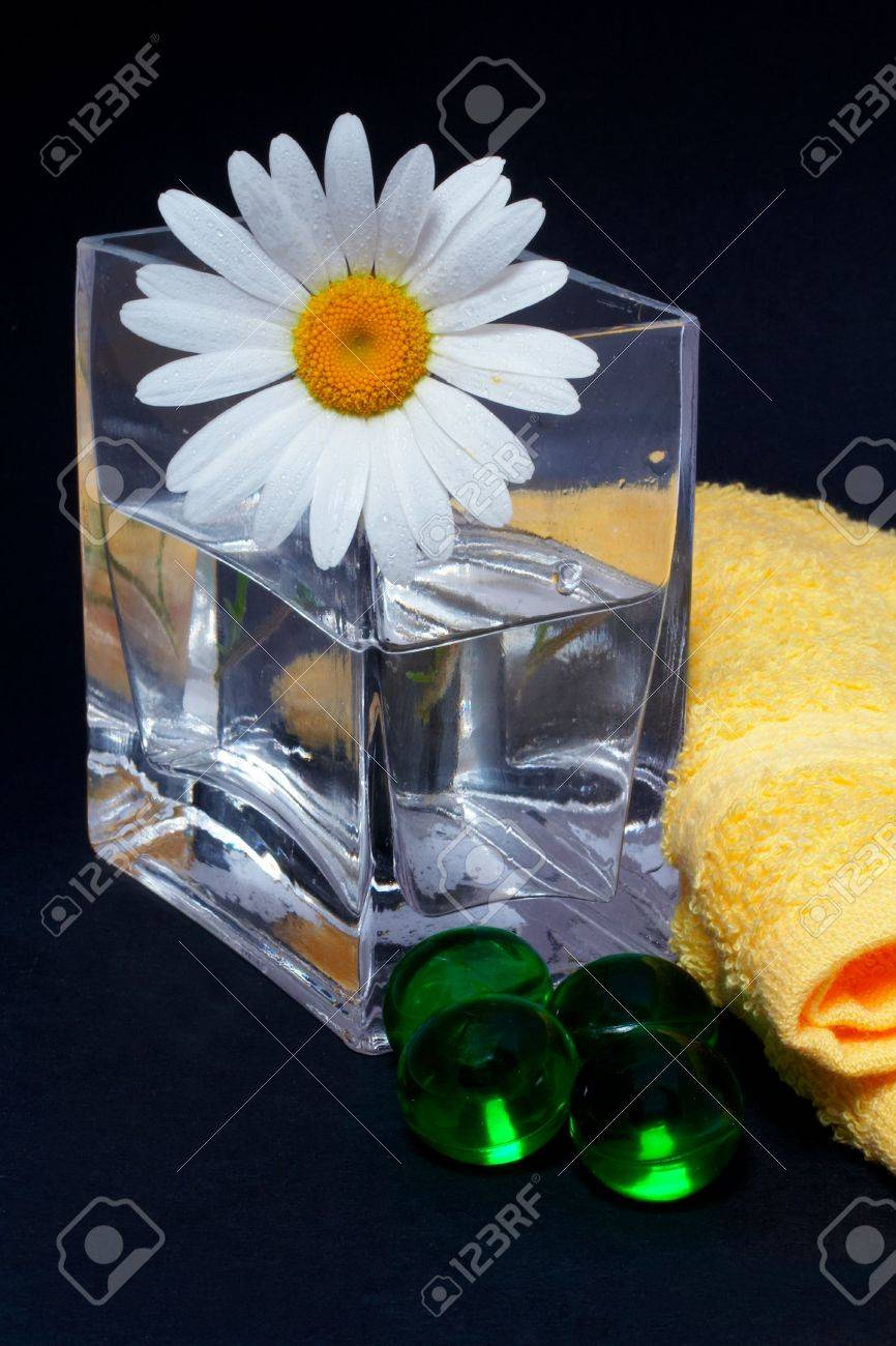 Daisy in the vase and bath pearls on black background Stock Photo - 417878