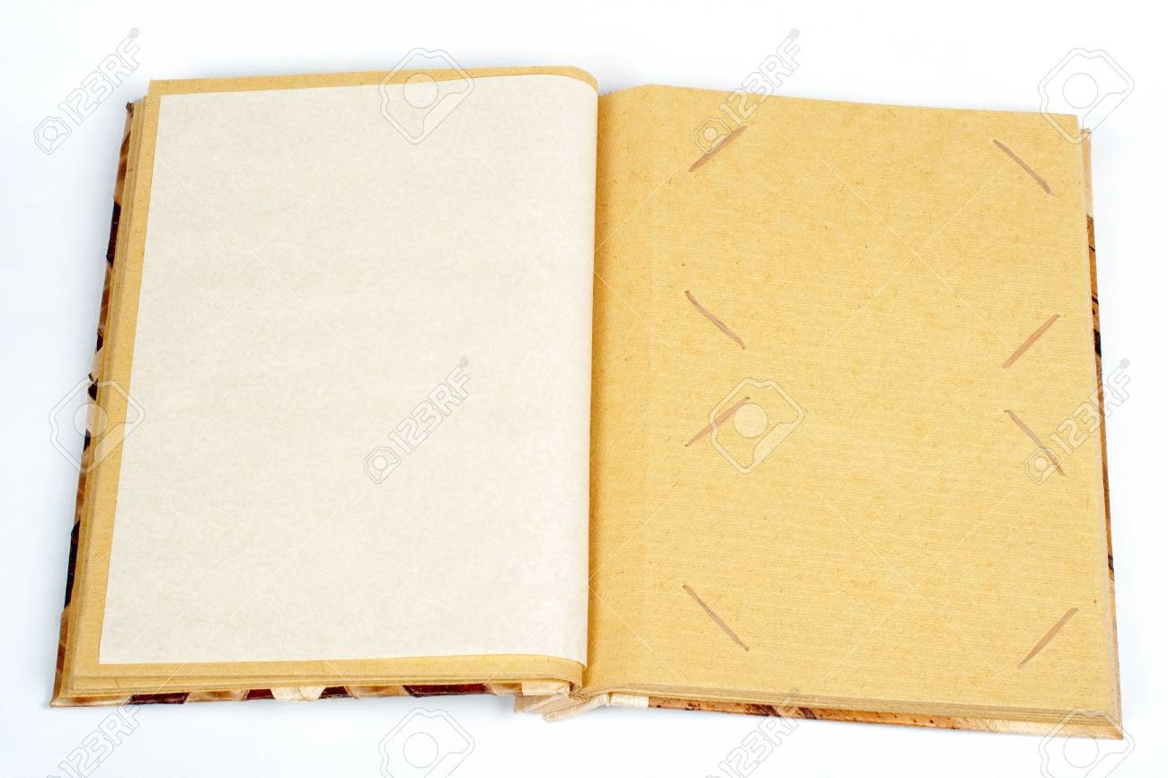 Antique scrapbook for two images per page, on white background. Stock Photo - 469828