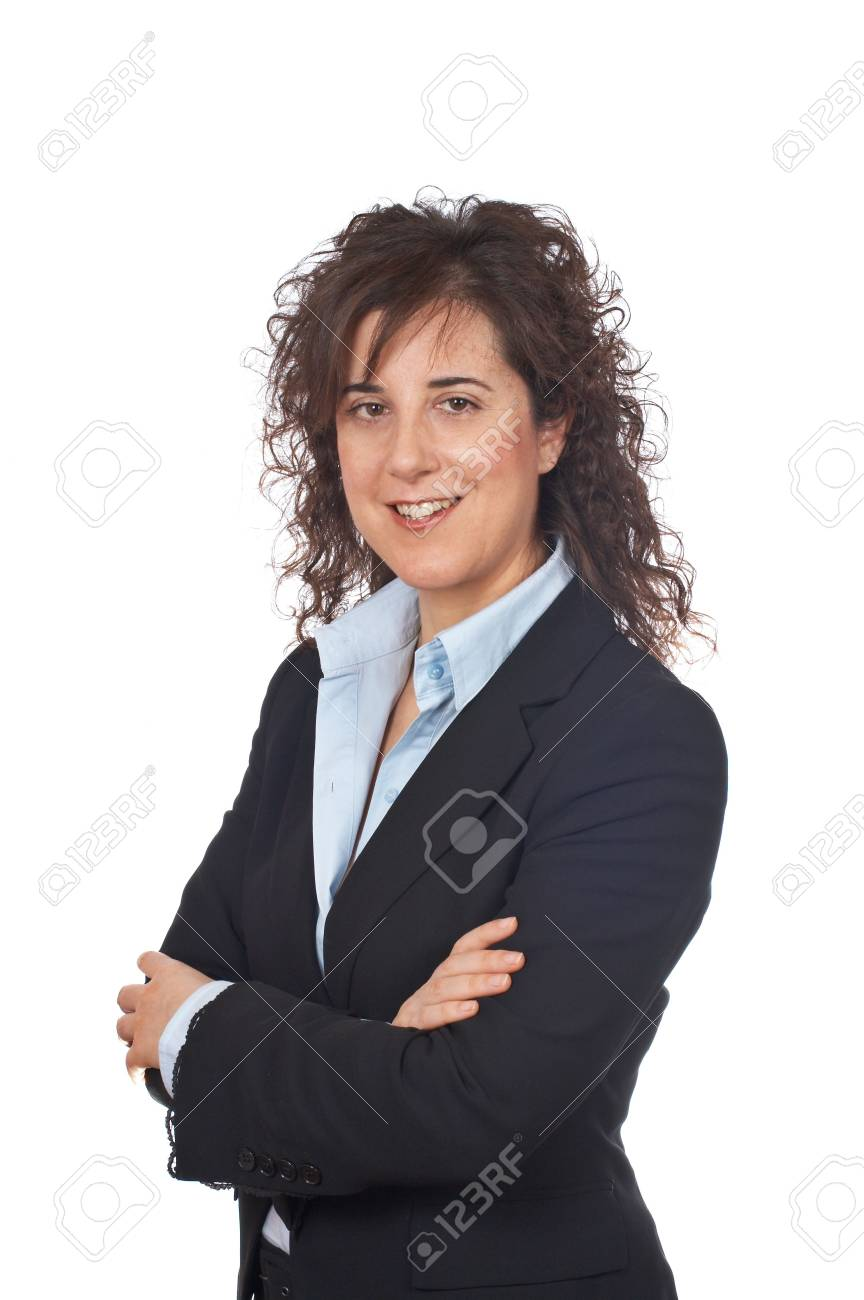 Smiling business woman standing over a white background Stock Photo - 714529