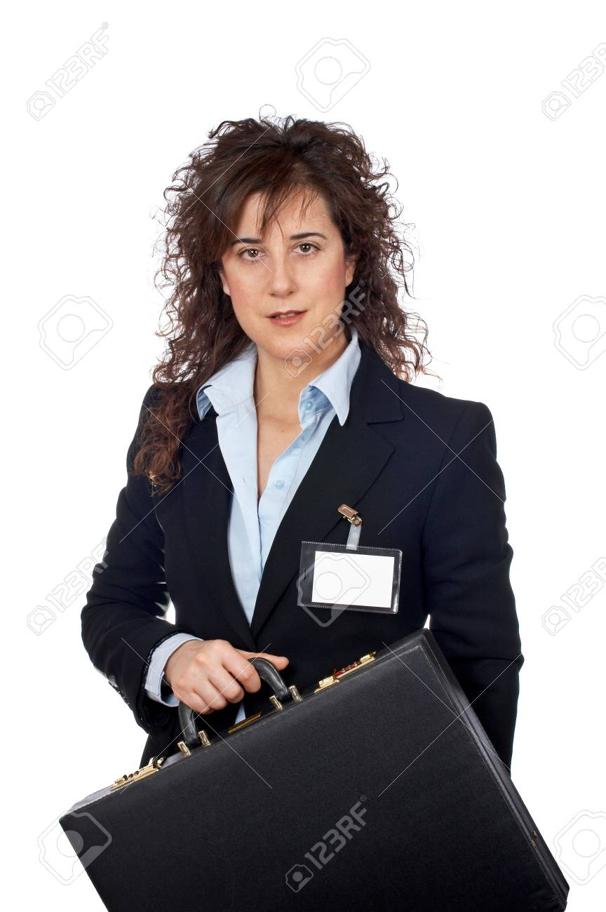 Business woman holding a black briefcase on white background Stock Photo - 762450