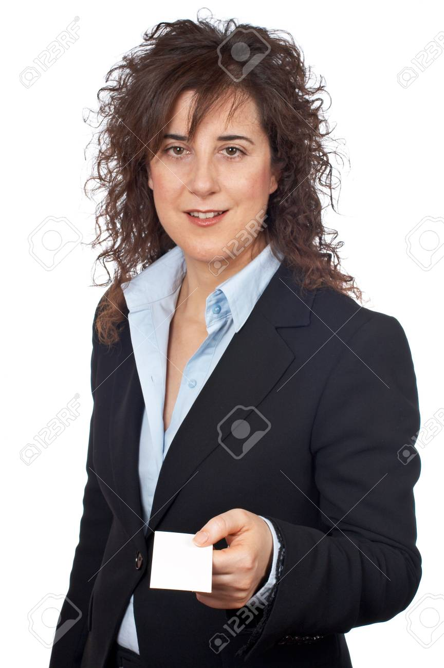 Business woman handing a blank card over a white background Stock Photo - 808983
